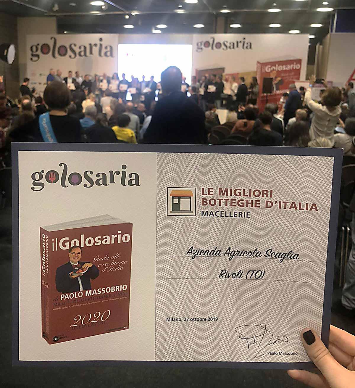 Macelleria Scaglia Premiata a Golosaria 2019/2020